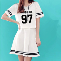 Customize Summer Women's O-Neck Kpop BTS SUGA JIMIN Dresses EXO Cropped Top+ Mini Dress 2 Piece Set  Vestidos