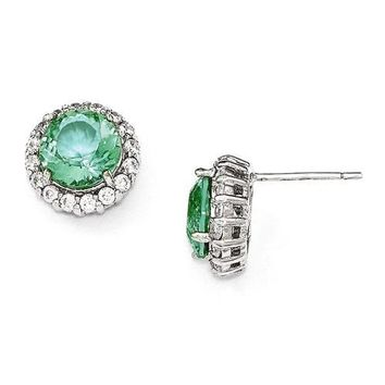 Cheryl M Sterling Silver Simulated Paraiba Tourmaline and CZ Halo Post Earrings