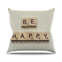 "Cristina Mitchell ""Be Happy"" Throw Pillow"