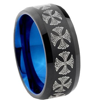 8mm Medieval Cross Bevel Tungsten Carbide Blue Mens Promise Ring