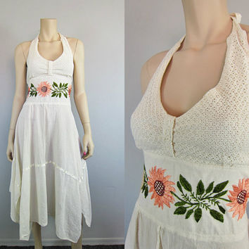 Vintage Embroidered Sunflower Mexican Gauze Crochet Dress Handkerchief Floral Cotton Scarf Hem Halter Hippie Wedding Boho Dress