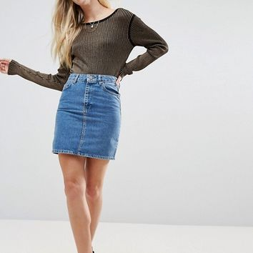 ASOS Denim Original High Waisted Skirt in Midwash Blue at asos.com