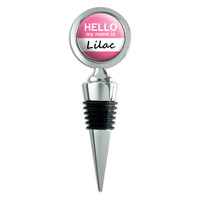 Lilac Hello My Name Is Wine Bottle Stopper