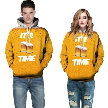 It's Beer Time - 3-D Hoodie Sweatshirt - Unisex Fall Winter Sweater