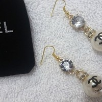 Stunning Designer Gold Plated Dangle Pearl Earrings