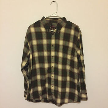 SALE Brown, White, Green Flannel Shirt, Vintage Plaid Button Up, 90s Flannel, Grunge Flannel, 90s Grunge