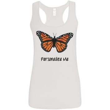 Monarch Butterfly Personalized Ladies' Softstyle Racerback Tank