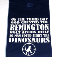 Remington Rifle Long Sleeve T-Shirt, Dinosaur Hunting Silly Shooting/Hunting Shirt, Men's, Women's, Funny Shirt