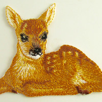 """Fawn Embroidered Iron-On 2"""" x 2.25"""""""
