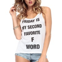 Favorite F Words White High Low Tank @ Cicihot Top Shirt Clothing Online Store: Dress Shirt,Sexy Womens Shirt,T Shirts,Corset Dress,White T Shirt,Girl T Shirt,Short sleeve top