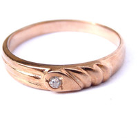 Antique 14k Rose Gold Diamond Wedding Band / Victorian Engraved Gold Ring