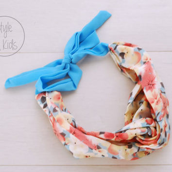 BLUE Flower Turban Headband Tie at the Back Headband Flower Baby Chiffon Headband Toddler Headband Adult Headband