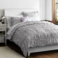 Ruched Duvet Cover, Full/Queen, Light Grey
