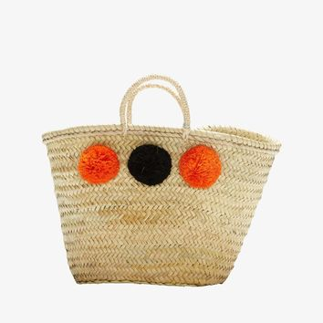 MALAGA. French Market Basket, with Pompoms (orange and black)