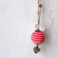 Romantic Pink Necklace - Wooden Crochet Necklace - Valentines jewelry - Gift for her under 25 USD