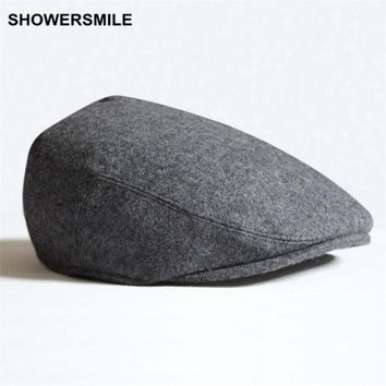 SHOWERSMILE Brand Beret Men Winter Flat Cap Wool Gray Black Green Solid Casual Vintage Newsboy Hat And Caps British Style