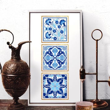 Ottoman Blue Floral Motif Watercolor Art, Moroccan Wall Art, Mosaic Home Decor, Vintage Blue Carnation Art Prints and Original Painting 008