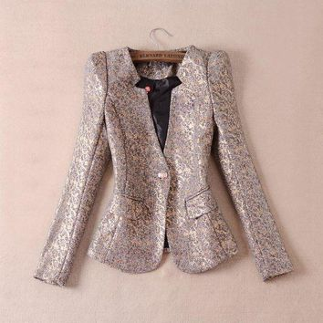 High Quality 2016 Fashion Autumn Winter Women's Elegant Long Sleeve Single Button Gold Floral Print Blazer Jacket Size M 3xl
