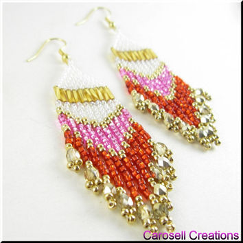 Native American Beaded Earrings Dangle Beadwork in Pink and Red