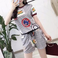 """Gucci"" Women Casual Retro Personality GG Letter Pattern Print Short Sleeve Shorts Set Two-Piece Sportswear"