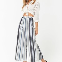 Striped Linen-Blend Capri Pants