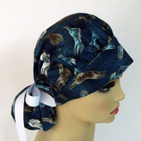 Scrub Cap, Bouffant Women's Scrub,  Pony Tail Cap, Hospital Scrub Cap, Rare Embracing Horses
