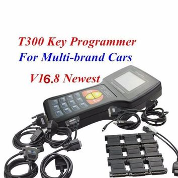 Black Blue Universal T-300 T 300 Auto Key Maker T300 2016 V16.8 Car OBD2 Key Programmer English Spanish Optional T Code Decoder