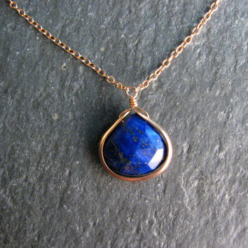 "Navy Blue Lapis Lazuli Bezel Wrap 16 - 18"" Layering Necklace in Bronze - Blue and Gold - Pendant Necklace - Modern Romance"