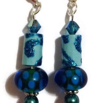 Teal Blue Paper Bead Earrings, Paper Bead Jewelry, Paper Bead Earrings