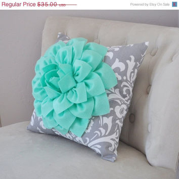 MOTHERS DAY SALE Mint Green Dahlia on Gray Damask Pillow - Decorative Pillow - Ozborne Pillow -