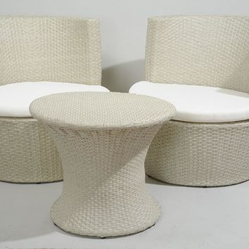 3-Piece Beige Outdoor Patio Resin Wicker Chair and Table Set - Off-White Cushions