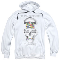RUBIK'S CUBE/OUTSIDE THE CUBE-ADULT PULL-OVER HOODIE-WHITE-2X