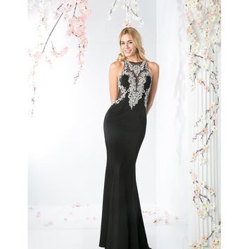 Black Fitted Sexy Embellished Long Dress 2016 Prom Dresses