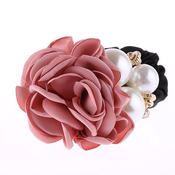 1 PC Fashion Women Satin Ribbon Big Rose Flower Pearls Hairband Floral Decor Elastic Ponytail Holder Hair Band Accessories