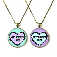 Mint Green and Purple Spooky Cute Best B*ches 4 Life Necklaces Matching Best Friend Necklace Set - Pastel Goth Soft Grunge Drippy Jewelry