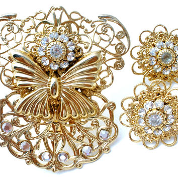 Gold Filigree Angel Brooch & Earrings by Jane