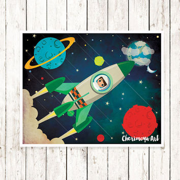 Boys Room Decor Nursery Print Boys Wall Art Children Print Happy Art Space Wall Art Rocket Ship Print Outer Space illustration Kids Gifts
