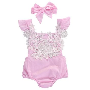 Cute Newborn Infant Baby Girls Clothes Pink Lace Floral Bodysuit Outfits Sunsuit 0-18M