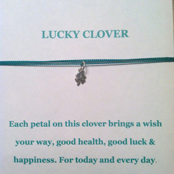 Sterling Silver Lucky Clover Wish Necklace, St. Patrick's Day, Best Friends