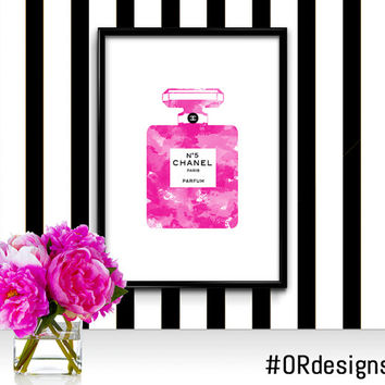 Chanel No5 Perfume Bottle Fashion Illustration Watercolor Print Poster | Printable Digital File