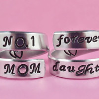 NO.1 MOM/forver daughter - Spiral Rings Set, Hand stamped Aluminum Rings, Forever Love, Mother Daughter Rings, Mother Day Gift