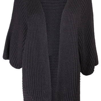 Black Ribbed Knit Cardigan