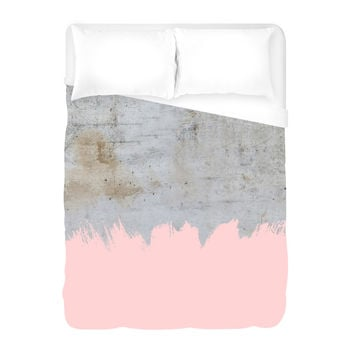 Pink on Concrete Duvet Cover