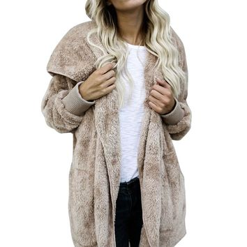 2017 New Womens Fashion Winter Faux Fur Coat Jackets Casacos Femininos Ladies Long Sleeve Cardigan Thick Warm Parka Coat Outwear