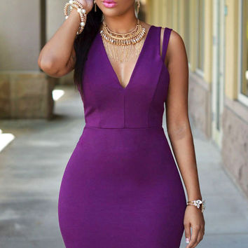 Strappy V Neck Bodycon Mini Dress