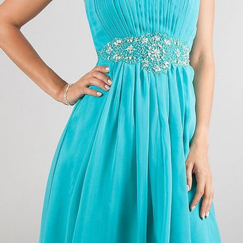 CLEARANCE - Teal Semi Formal Chiffon Dress Knee Length Strapless Empire (Size Medium)
