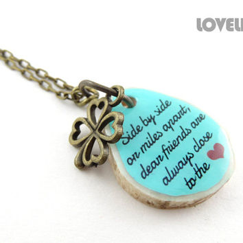 Best Friend Going Away Gift Custom Friendship Necklace Friends Inspirational Quote