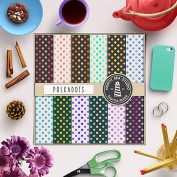 Polkadots Digital Paper  Colorful Polka Dot Paper Polkadot Background Printable Invitation Paper Polkadot Texture 12x12 In Instant Download