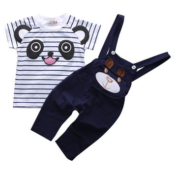 New Baby Clothes Set  Cartoon Toddler Baby Infant Boys Spring Autumn Outfits T-shirt+Bib Pants Kids Clothing