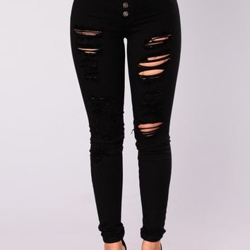 Privacy Please Distressed Skinny Jeans - Black